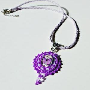 Beaded Purple Butterfly Glass Cabac..