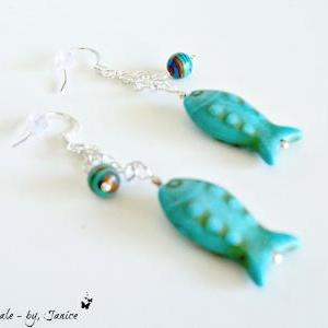 Turquoise Howlite Fish Dangle Earri..