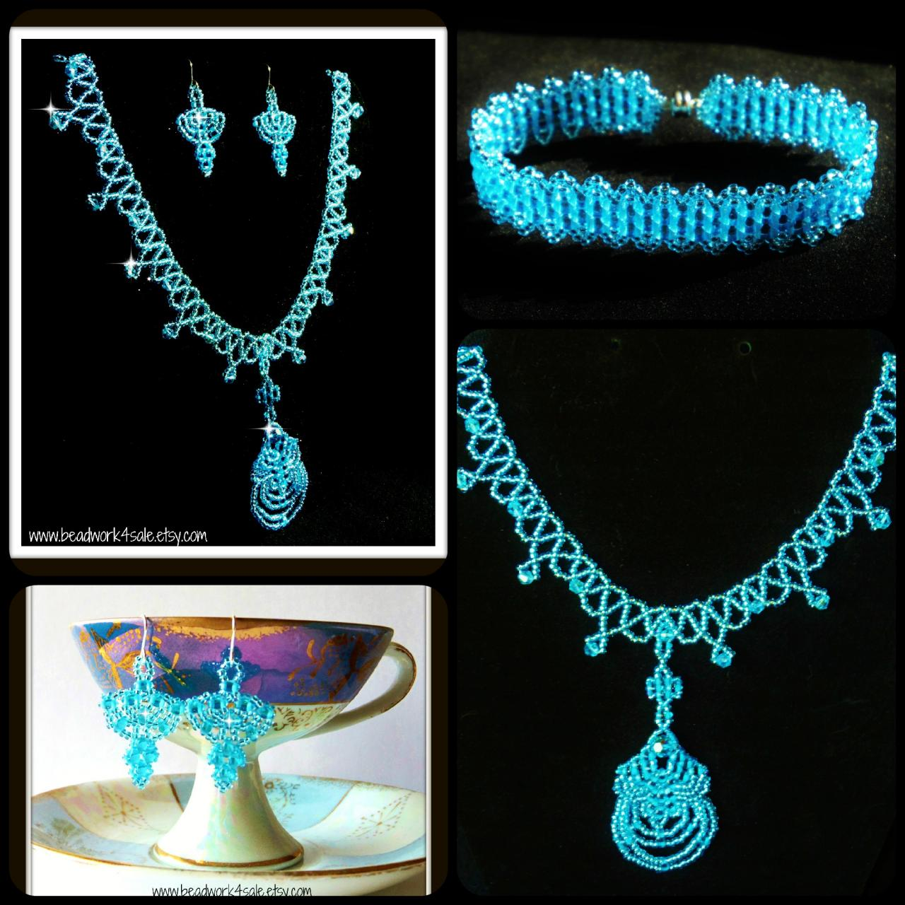 Handmade Beaded Jewelry (OOAK) Necklace, Bracelet, Earring 3 Pc. Set