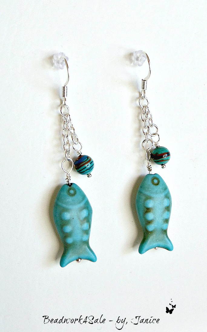 Turquoise Howlite Fish Dangle Earrings