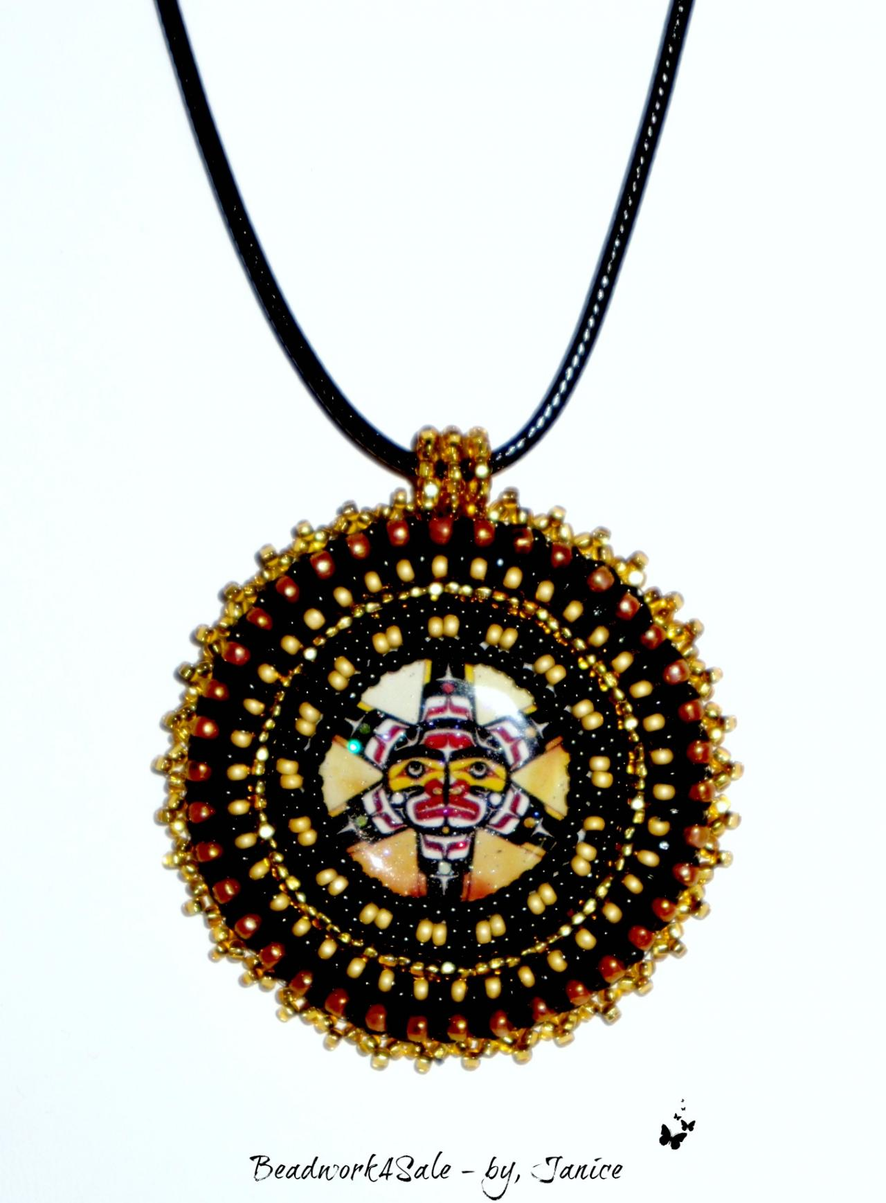 Pacific Northwest Tribal Medallion Handmade Beaded Necklace