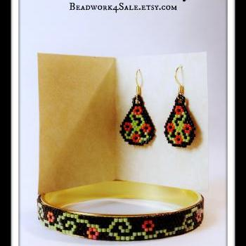Harvest Moon Beaded Bangle Bracelet and Earring Handmade Beaded 2 pc. Jewelry Set
