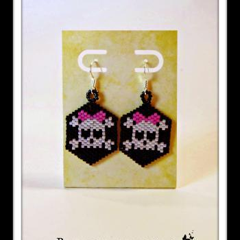 Sugar Skull Hand Beaded Earrings