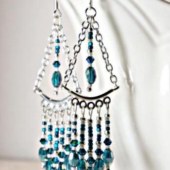 Silver and Teal Swarovski Crystal Shoulder Duster Swing Style Earrings
