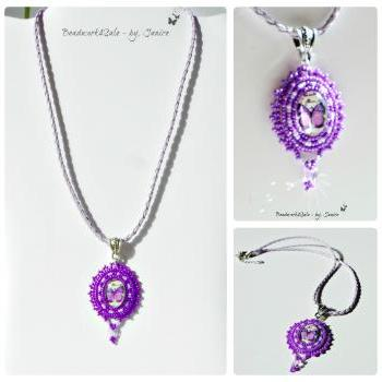 Beaded Purple Butterfly Glass Cabachon Lavendar Leather Rope Beadwork Necklace