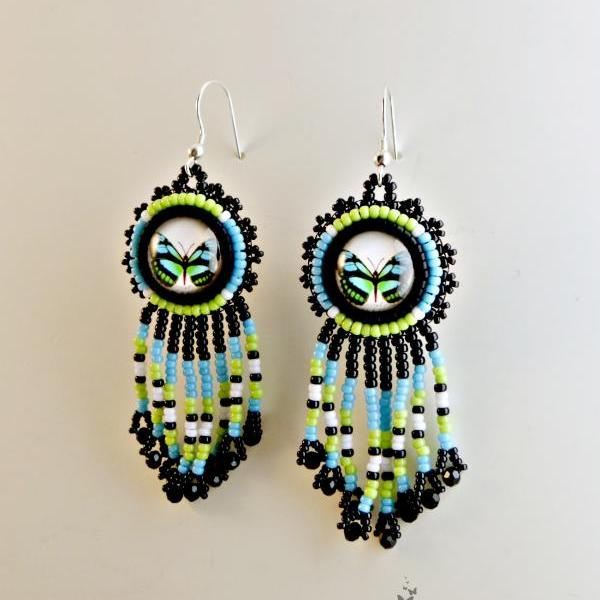 Beaded Butterfly Native American Inspired Fringe Earrings