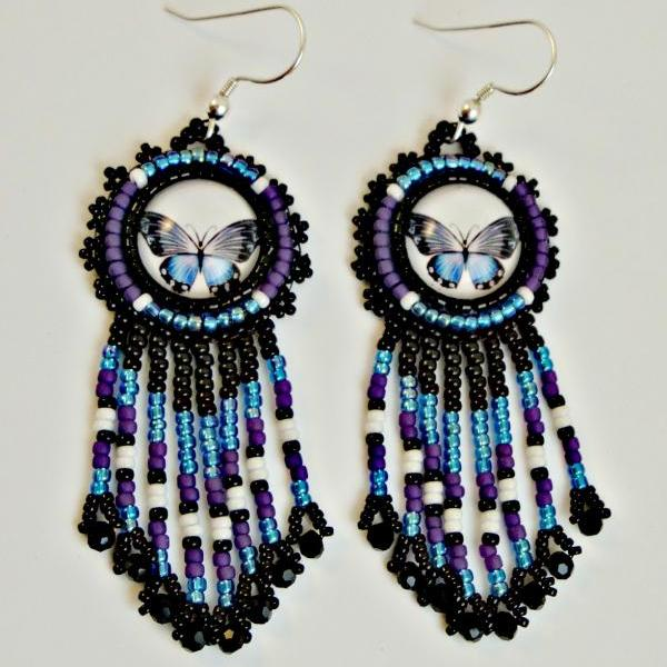 Purple - Capri Blue Butterfly Glass Cabachon Handmade Beaded Earrings